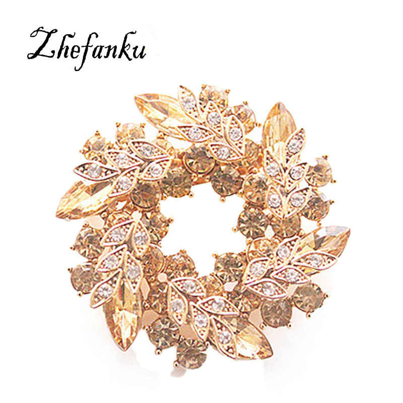 Bling Bling Crystal Rhinestone 1 Pcs Women Brooches for Scarf Gold Color Chinese Redbud Flower Brooch Pins Jewelry