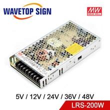 Meanwell-fuente de alimentación conmutada de salida única, LRS-200, 5V, 12V, 24V, 36V, 48V, 200W, MW Original, marca de Taiwán, LRS-200-24