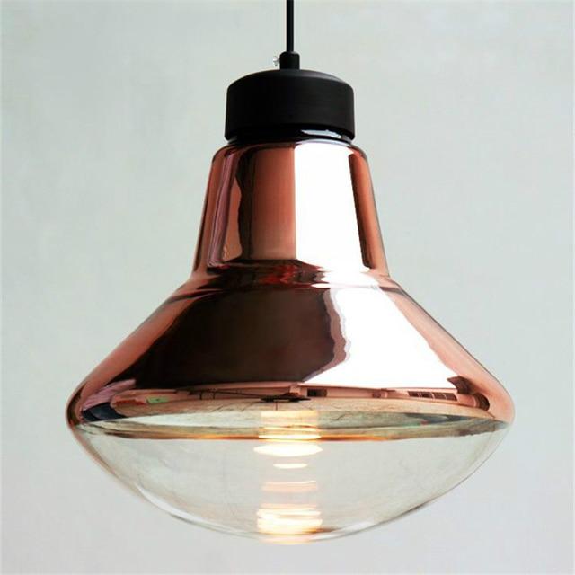 Connu Argent / cuivre abat jour en verre pendentif luminaires moderne  UJ42