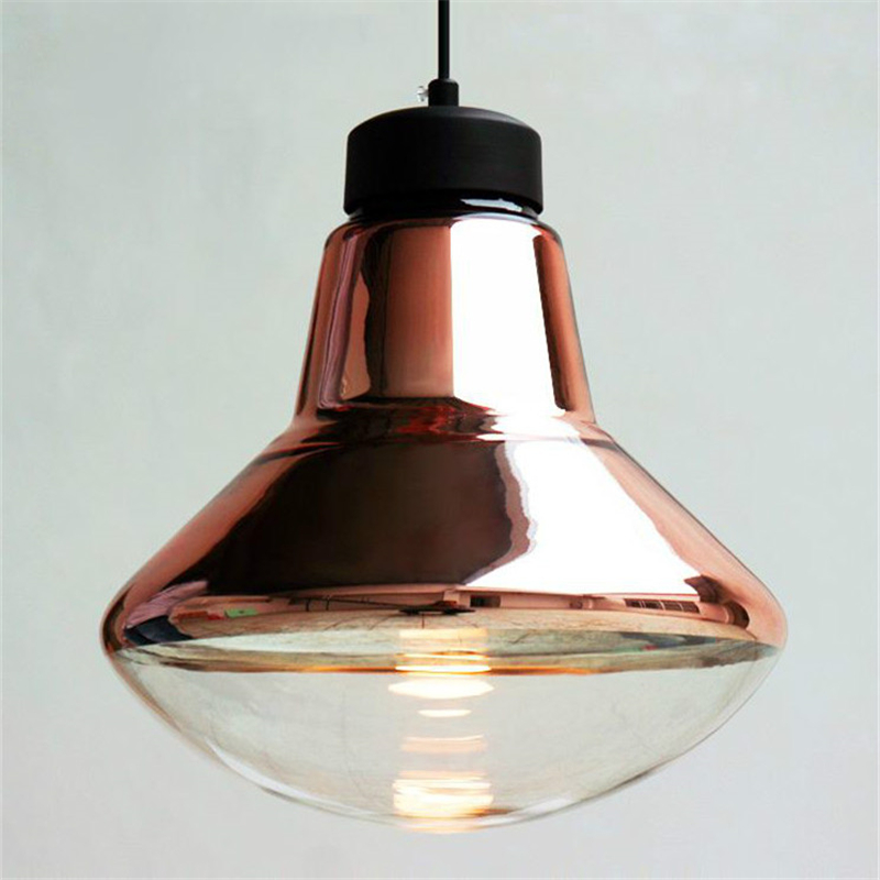 buy silver copper lampshade glass pendant light fixtures modern nordic dinning. Black Bedroom Furniture Sets. Home Design Ideas