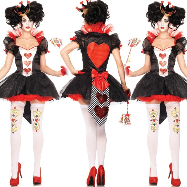 Sexy Hearts Playing Cards Queen Halloween Scary Costumes For Women Cosplay Game Uniforms Exotic Apparel Casino