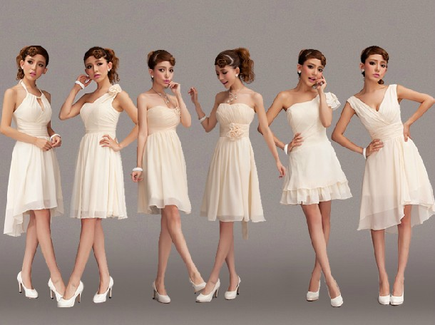 Lady angel free shipping short beige chiffon bridesmaid for Beige short wedding dresses