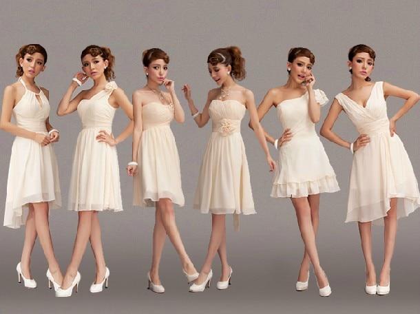 Lady Angel Free Shipping Short Beige Chiffon Bridesmaid