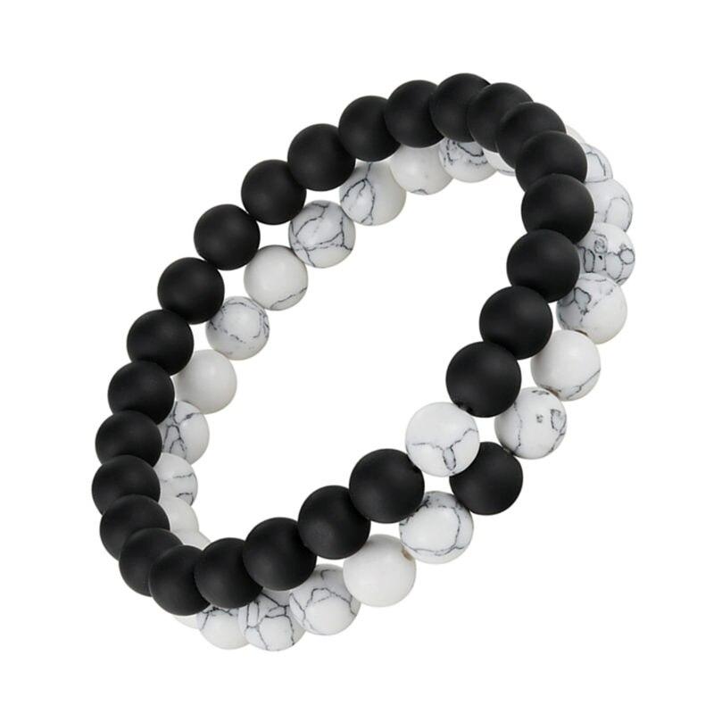 2pcs/set Distance Bracelet Pierre Naturelle Yin Yang Beads Bracelets For Women Men Couples Valentine's Day Jewelry Gift Pulseras