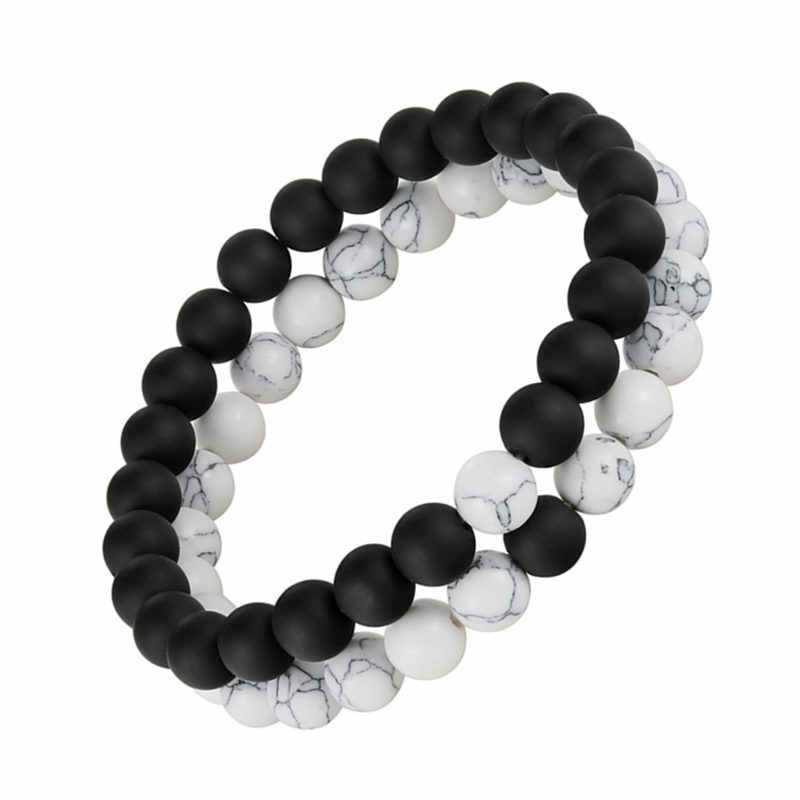 2pcs/set Distance Bracelet Pierre Naturelle Yin Yang Beads Bracelets for Women Men Couples Valentine's Day Jewelry Gift pulseras