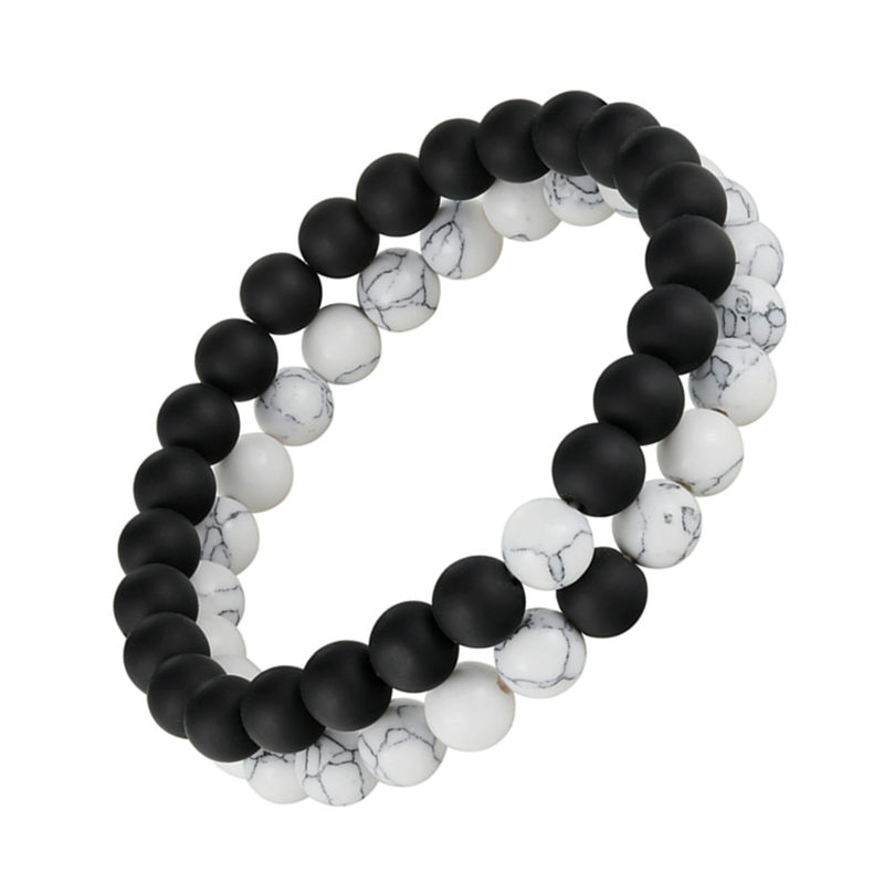 2pcs/set Distance Bracelet Pierre Naturelle Yin Yang Beads Bracelets for Women Men Couples Valentine's Day Jewelry Gift pulseras title=