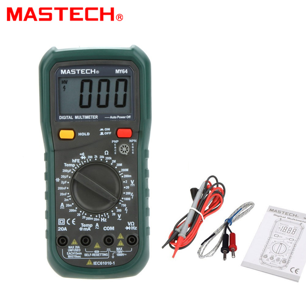 MASTECH MY64 Digital Multimeter 20A AC/DC DMM Frequency Capacitance Temperature Meter Tester w/ hFE Test Ammeter Multimetro digital multimeter mastech ms8264 dmm temperature capacitance tester multimeter handheld ammeter multitester