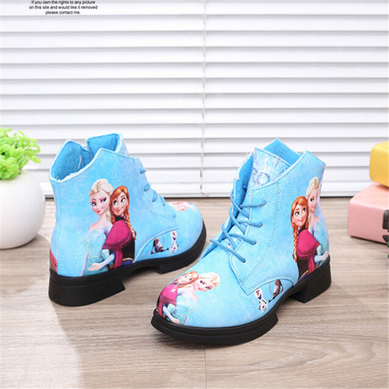 Girls fashion snow boots queen anna print boots for girl kid infantil princess snow boots shoes elegant PU elsa leather Shoes