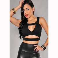 Dower Me Sexy Woman Black Cut Out Short Crop Tops Fashion Woman Summer Solid Spandex Sleeveless