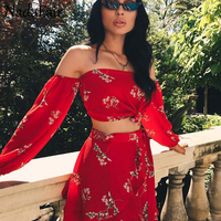 Nadafair Two Pieces Set Women Off Shoulder Lantern Sleeve Ruffles Floral Print Casual Beach Summer Chiffon