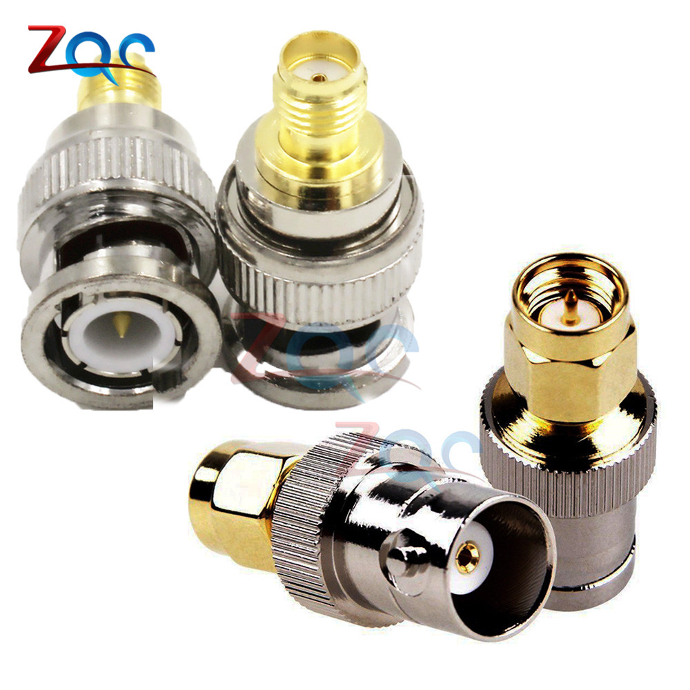2Pcs/set Adapter BNC Female Male Buchse Jack To SMA Male Female Plug Stecker RF Connector 1pc adapter n plug male nickel plating to sma female gold plating jack rf connector straight