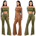 2017 New Fashion Spring Fall Casual Cropped Top Long Pants Suits Slim Women Sets Neck Ring Slash Neck 2pcs Suit Suede Slash Neck