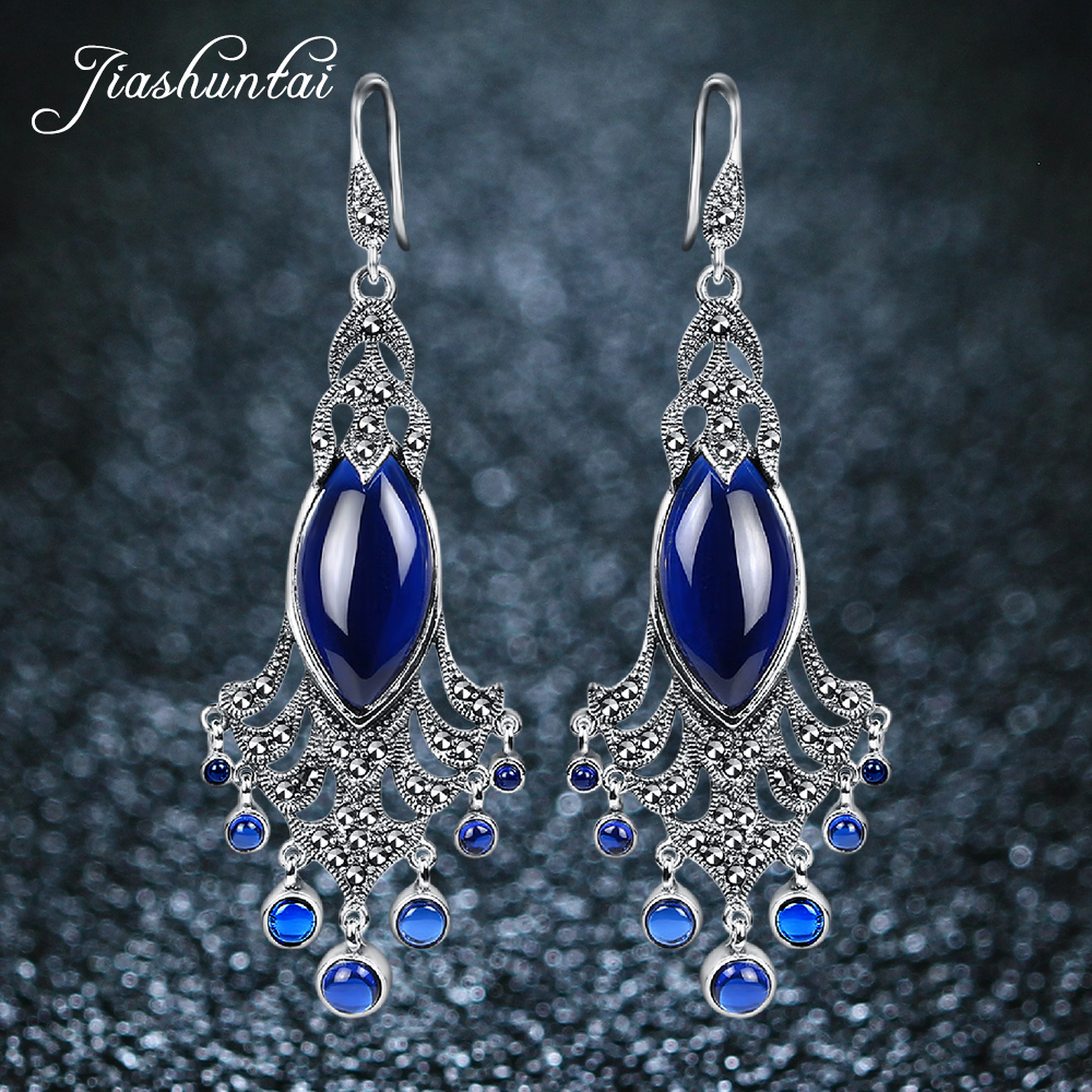 JIASHUNTAI Vintage Natural Sapphire Ruby G  Peacock Earrings Retro 100% Sterling Silver Earring Fine Jewelry For Women-in Earrings from Jewelry & Accessories    1