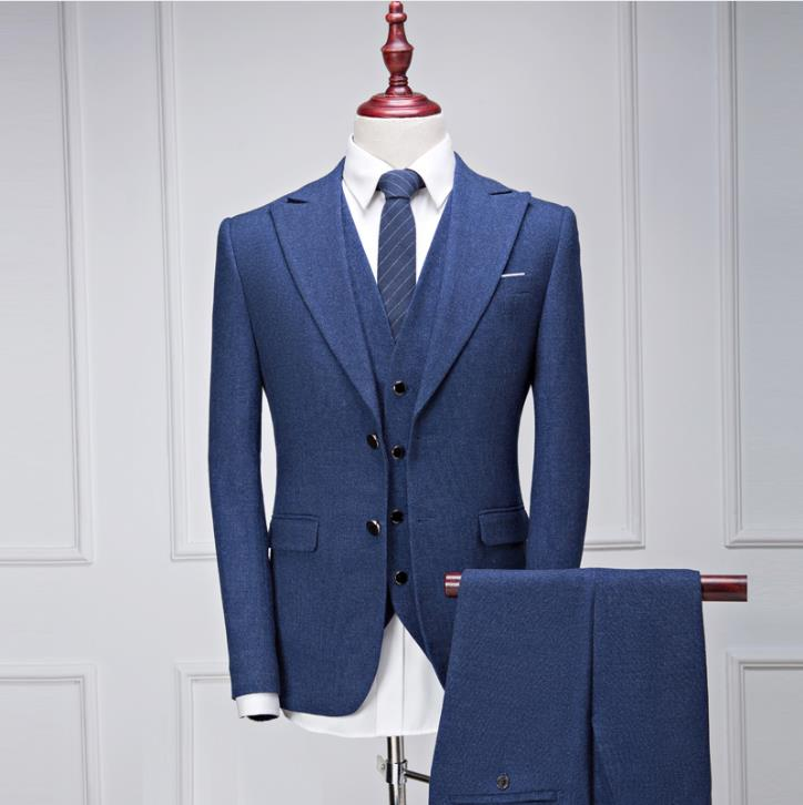 2019 NEW Arrival Three Piece Suits Men's Casual Fashion Wool Suit Men High Quality Wool Wedding Suits Costume Mariage Terno