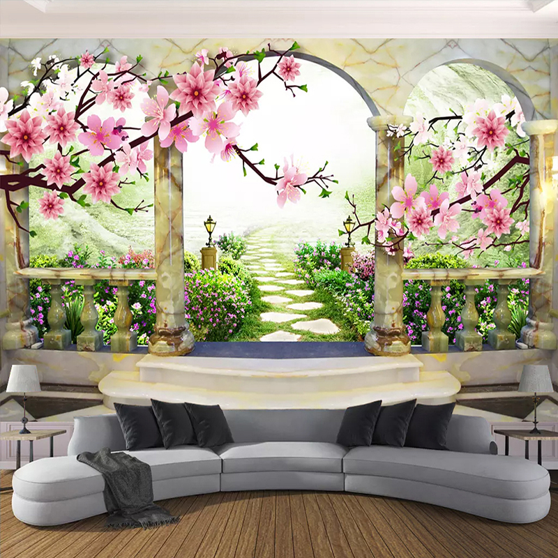 3D Wallpaper Custom Mural Papel De Parede 3D Flower Landscape European Garden Arch Living Room Bedroom Photo Wallpaper For Walls