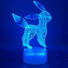 3d Led Night Light Lamp Game Pokemon Go Umbreon Figure Home Decoration Birthday Gift for Kids Bedroom Nightlight Eevee Family