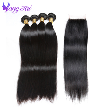 Brazilian Hair Weave Bundles With Closure Human Hair Extensions Remy Straight Hair Natural Color Free Shipping Yuyongtai Hair