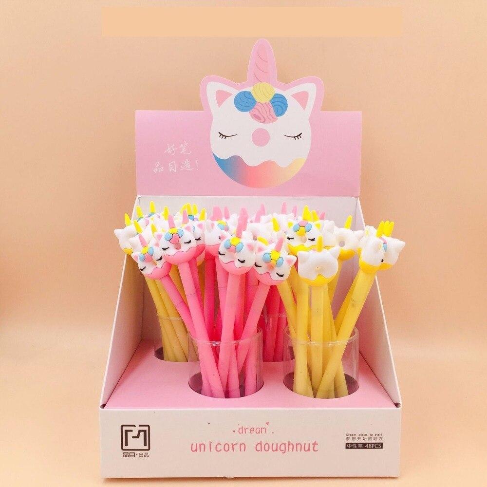 48pcs box cute cartoon horse donut silicone gel pen creactive stationery school students water ink Pen