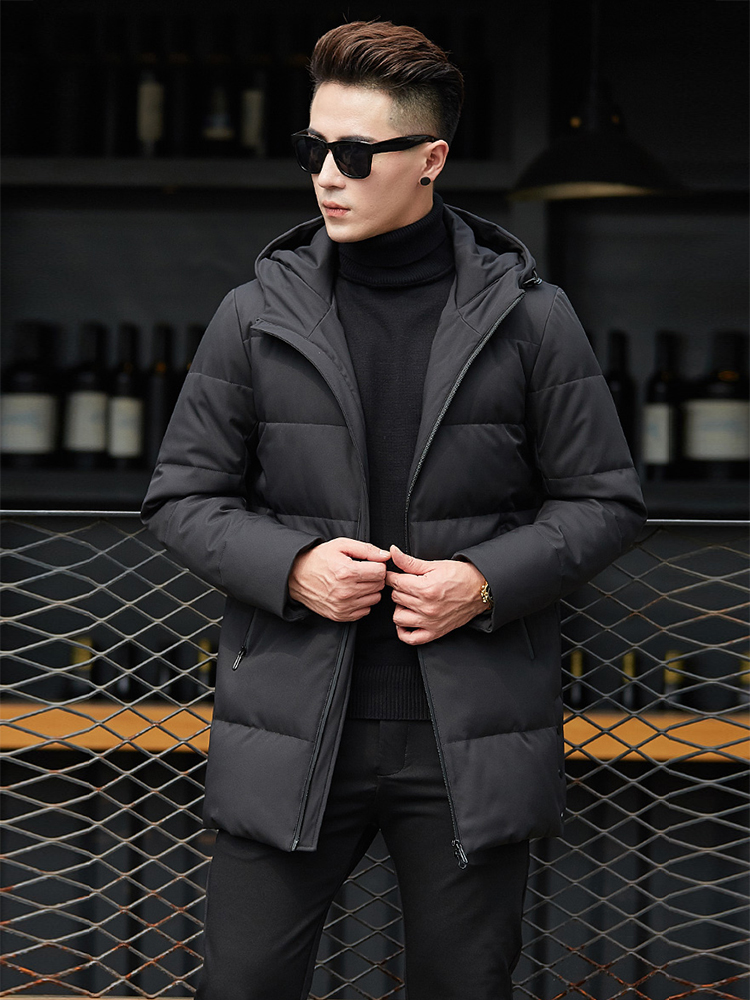 2019 High Quality Men   Down     Coat   Hooded Winter Duck   Down   Jacket Men 70%White Duck   Down   Mid-long   Coat   Fashion Men   Coat   Winter