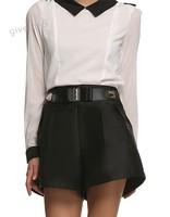 Stylish Women Summer Casual Shorts Fake Belt Zipper Back High Waist Loose Shorts Black S