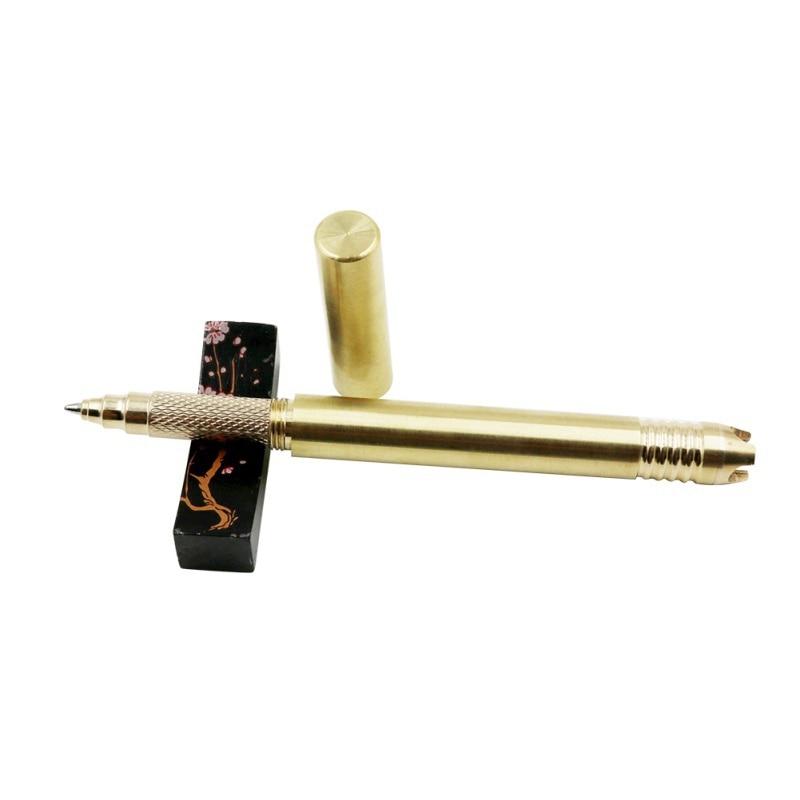 Bamboo shape tactical pen portable self defense handmade brass marker out tovk