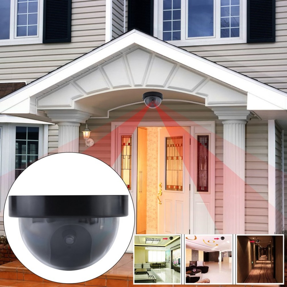 3pcs Outdoor Indoor Dome Shape Dummy Camera Surveillance Simulation Camera Security Cam With Warning Flash LED Light