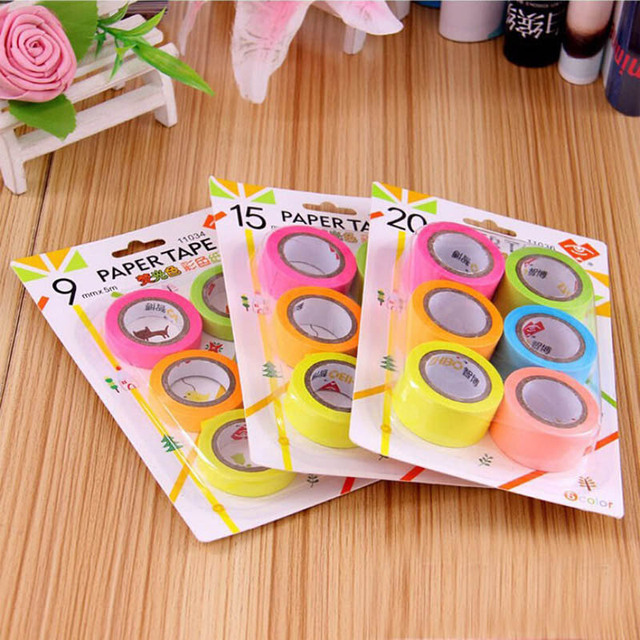 6 pcs/lot DIY New Cute Kawaii Washi Tape Candy Color Masking Tape for Home Decoration Korean Stationery Free shipping 736
