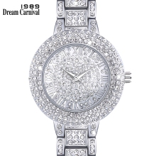 Dreamcarnival 1989 New Arrived Must Have Round Clock Classic Crystal Watch for Women Luxury Stone Dial Roman Letter Index A8356A