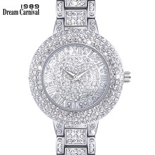 Dreamcarnival 1989 New Arrived Must Have Round Clock Classic Crystal Watch for Women Luxury Stone Dial Roman Letter Index A8356A(China)