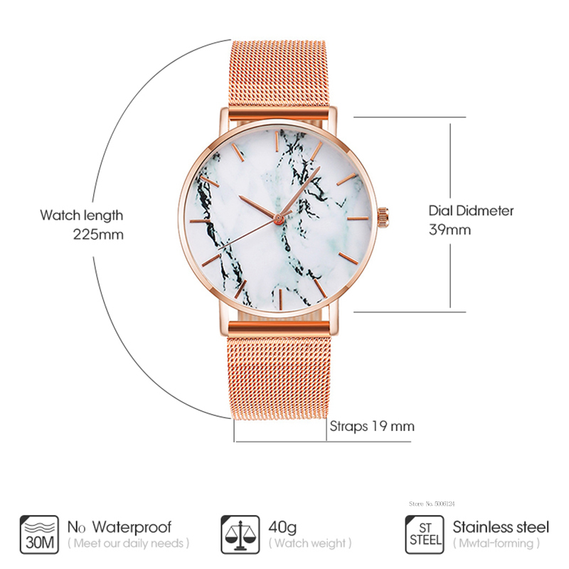 Fashion Rose Gold Mesh Band Creative Marble Female Wrist Watch Luxury Women Quartz Watches Gifts Relogio Feminino Drop Shipping 1