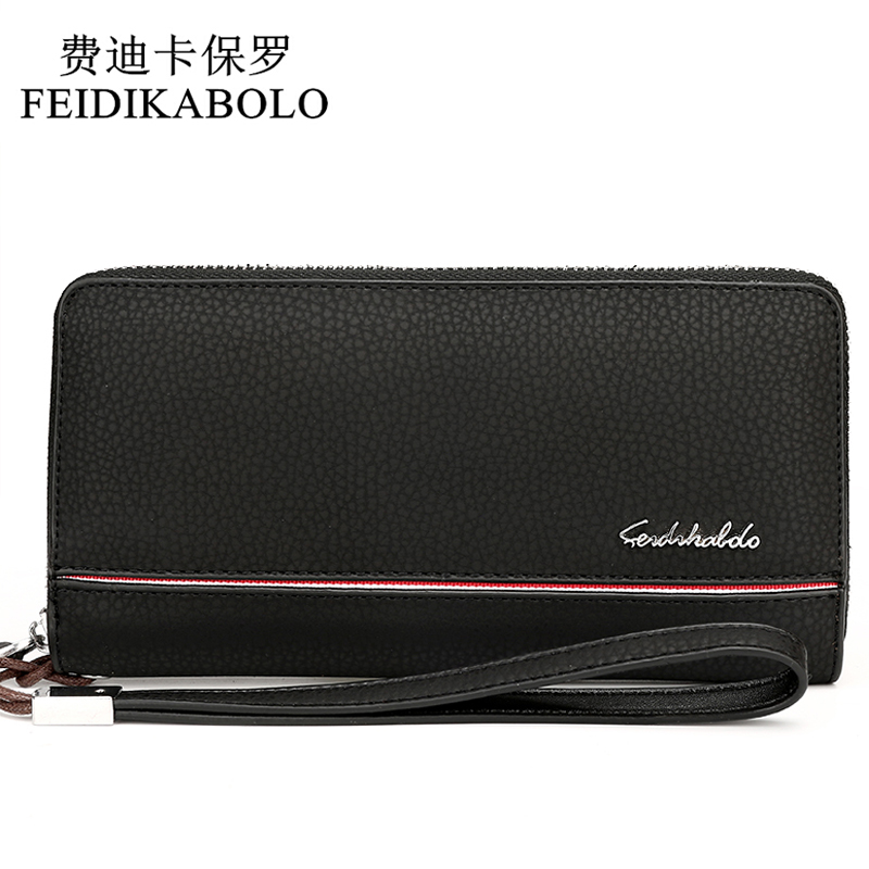 FEIDIKABOLO Men Wallets Fashion Leather Designer Long Male Clutch Bag  Men's Purse Carteira Zipper Money Pocket Clutch Wallets feidikabolo brand zipper men wallets with phone bag pu leather clutch wallet large capacity casual long business men s wallets