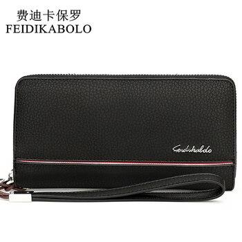 Feidikabolo men ví thời trang da designer dài nam ly hợp túi người đàn ông của ví carteira zipper pocket money clutch ví
