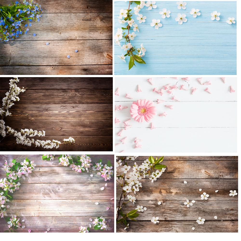 Wood Floor Backdrop With Flower Photography Backdrops Pet Doll Food Cake Photo Background Photocall Studio Props