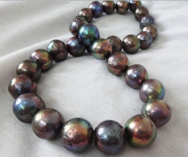 Natural 14-15mnm Australian freshwater black red pearl necklace 18925silverNatural 14-15mnm Australian freshwater black red pearl necklace 18925silver