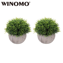 WINOMO 2pcs Mini Plastic Fake Faux Green Grass Simulation Artificial Plants with Pots for Home Decor