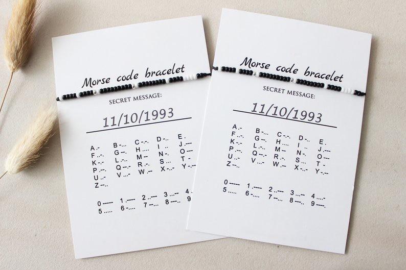 G.YCX 2pcs/Set Custom Miyuki Morse Code Bracelet Matching Couple Jewelry Brother Sister BFF Name Message Bracelet For Women Men
