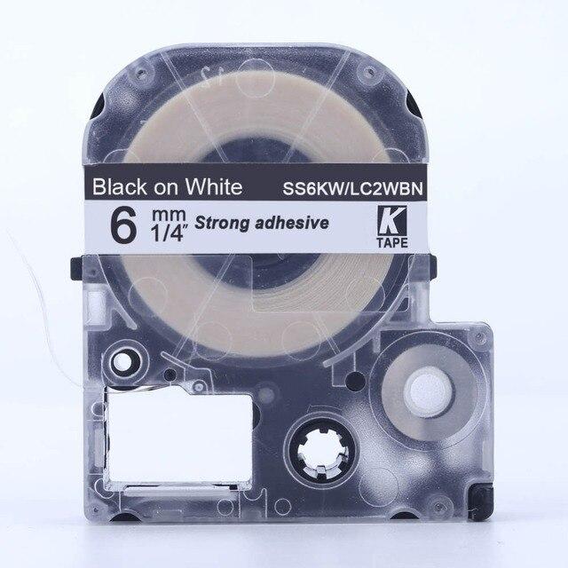 "CIDY 1 יחידות 6 מ""מ שחור על לבן SS6KW/LC-2WBN9 LC-2WBN LC 2WBN LC2WBN תואם קלטות תווית עבור kingjim מדפסות עבור LW300 LW400"