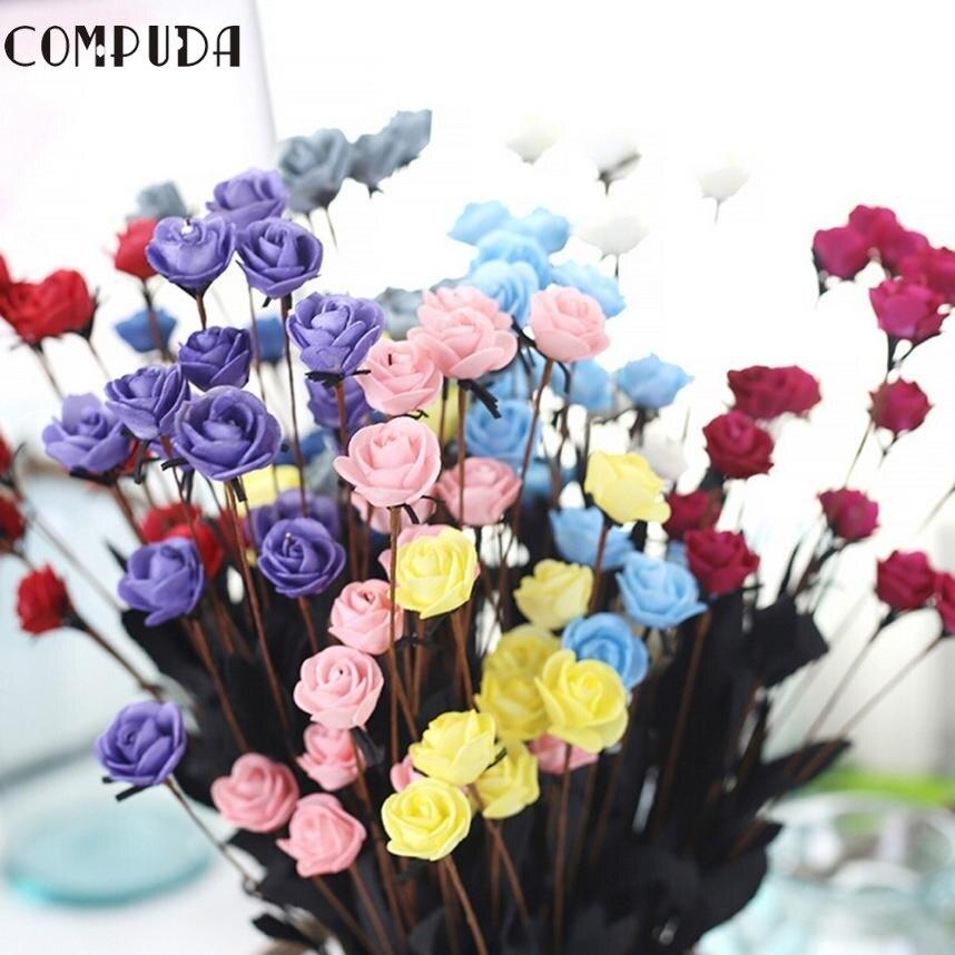 Artificial PE Fake Flowers Rose Floral Wedding Bouquet Bridal Hydrangea Decor levert dropship 2juL7