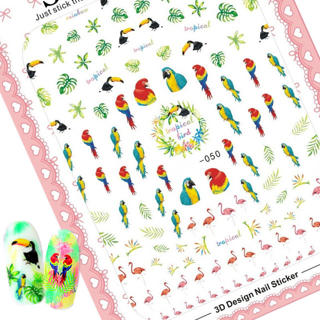 Newest 3d nail art sticker solonail hanyi 50 tropical bird decals nail tools nail decoration
