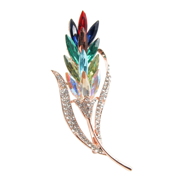 baiduqiandu Brand Assorted Colors Crystal Rhinestones Wheat Brooch Pins for Wome