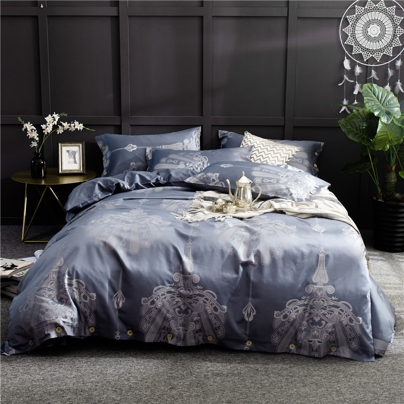 Luxury Jacquard satin fabric bedding set Queen size duvet cover sets grey purple bed linen bedclothes pillowcaseLuxury Jacquard satin fabric bedding set Queen size duvet cover sets grey purple bed linen bedclothes pillowcase