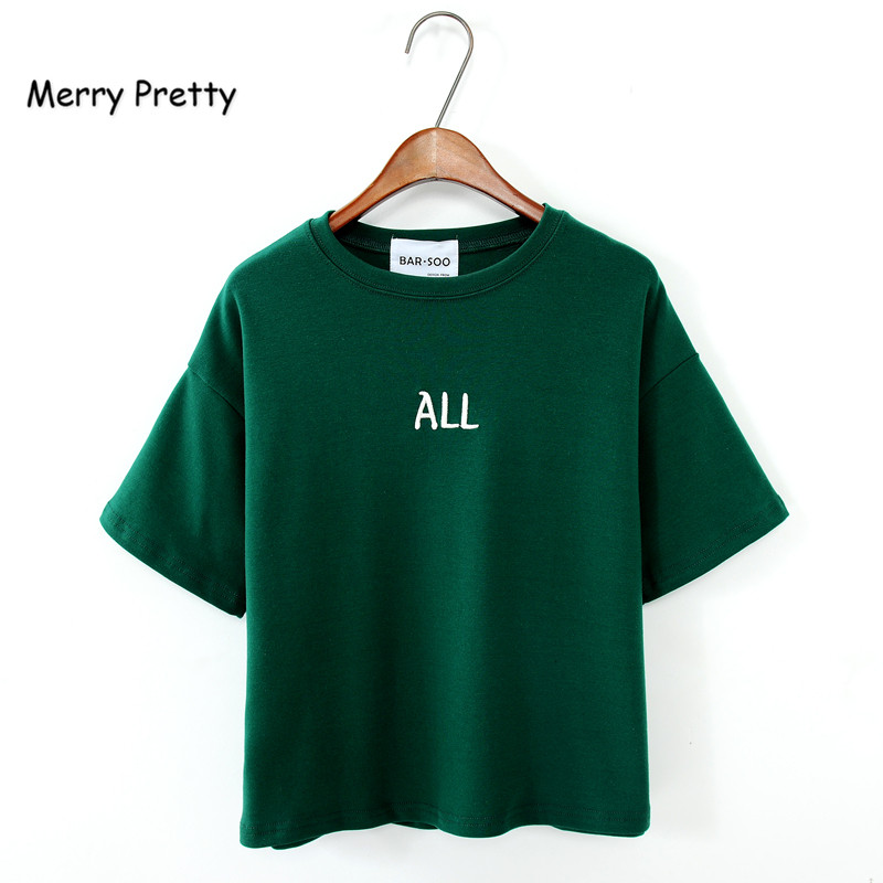 MERRY PRETTY Harajuku style green t shirt women all letter printed cotton tops short sleeve o-neck fashion summer funny top tees