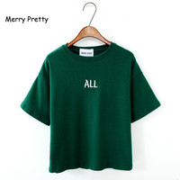 All Letter Brief Short Sleeve T Shirt Plus Size Loose O Neck 100 Cotton Short Sleeve