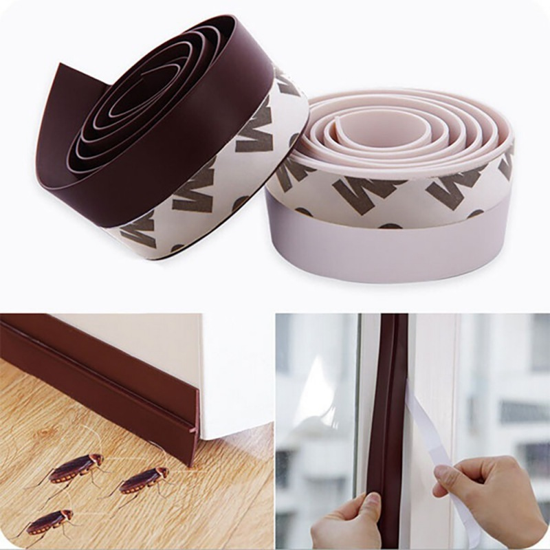 Silicone Self-Adhesive Weather Stripping Under Door Draft Stopper Window Seal Strip Noise Stopper Insulator Door Sweep Prevent