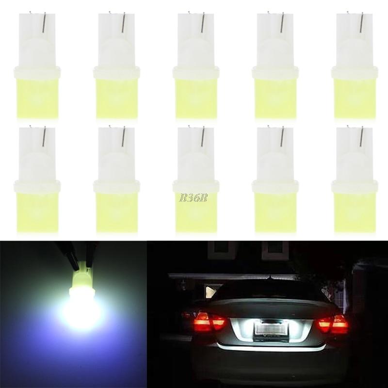 10pcs/lot Car Light Source White Light W5W 168 194 T10 COB Car Motor LED License Plate Light Lamp Bulb