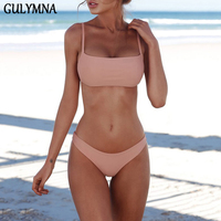 GULYMNA Solid Brazilian Bikini 2018 Swimwear Women Vintage Swimsuit Mayo Biquini Beach Wear Bathing Suits Maillot