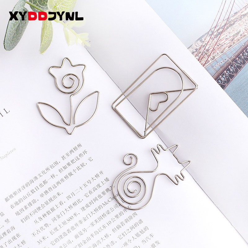 1pcs Metal Bookmark Cartoon Animal Paperclip Shape Creative Book Holder Memo Clip Stainless Steel Message Folder