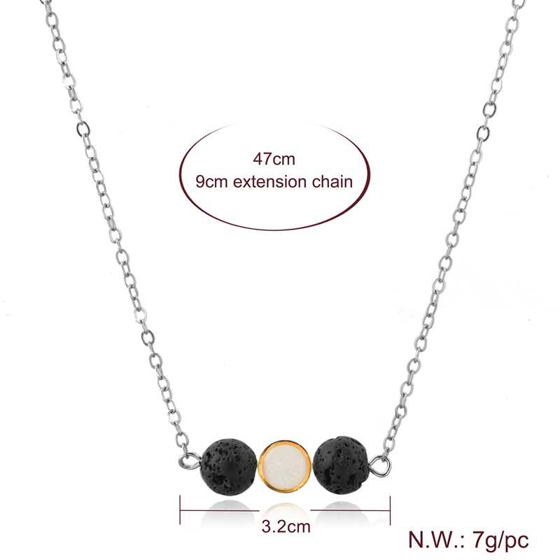 ATTRACTTO Handmade Bead Alloy Necklace Pendants Charms For Women Stainless Steel Necklaces Silver Statement Necklace SNE190018