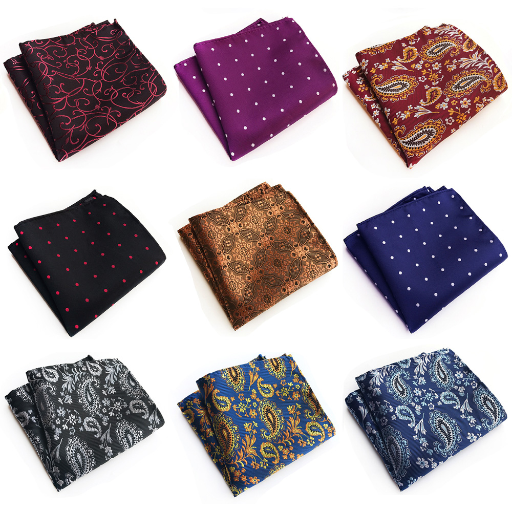 Mens Floral Paisley Polka Dots Jacquard Pocket Square Wedding Party Handkerchief HZTIE0325