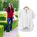 2016 New Summer Blouse Women V-neck Loose Cotton Shirt Fashion Tops Blusas Feminina Camisas 5 Colors Plus Size M-3XL